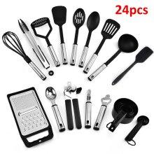 24Pcs Kitchen Silicone Cooking Set Non-stick Spatula Turner Black UK