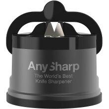AnySharp Pro Metal World's Best Knife Sharpener with Suction, GunMetal