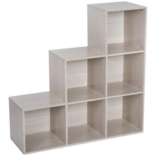 HOMCOM Storage Cabinet Unit Bookshelf 6 Cube Particle Board Black Home Office