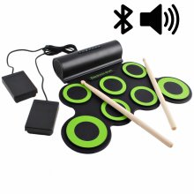 deAO Roll Up Electronic Drum Kit Foldable Musical Entertainment Practice Built-in Bluetooth, Speakers, Foot Pedals & Drum Sticks for Kids,Beginner, Adult