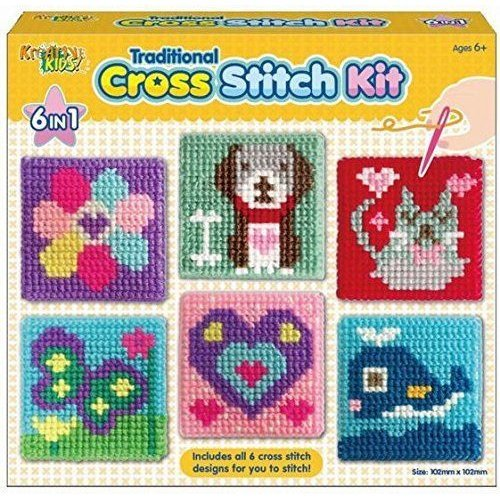 Kreative Kids - 6 in 1 Traditional Cross Stitch Kit 6 Childrens Designs Tape Sewing Kit