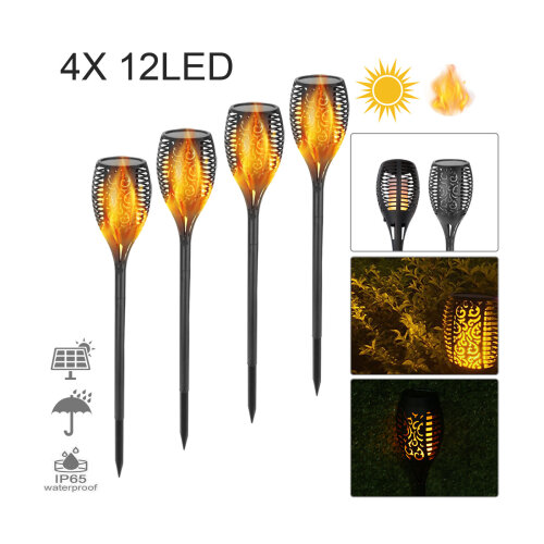 Solar Power Torch Light Waterproof Flame Flickering Garden Lamp