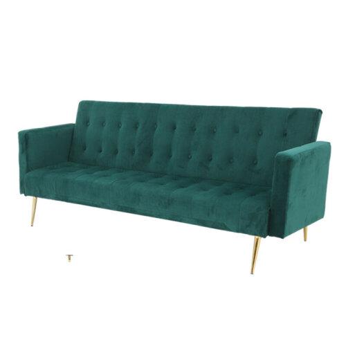 (Green) Velvet Sofa Bed With Gold Legs