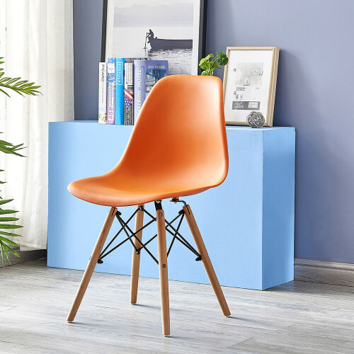 (Orange) DSW-style Dining Chair With Wooden Legs