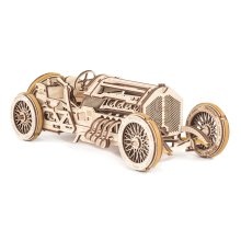 UGears U-9 Grand Prix Car Wooden Model (DIY Building Kit) Hand-Crank Powered Vehicle w/ Working Pistons, Wheels, Shocks | Functional, Authentic...