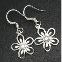 Real freshwater pearl flower drop earrings, solid Sterling silver.