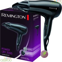 Remington D3010 Hair Dryer 2000W Ceramic Ionic Grille With Cool Shot Black