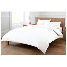 100% (Egyptian Cotton) 4 Piece DOUBLE Duvet Bed Set in Plain White – Includes x1 Duvet Cover x2 Pillowcases and x1 Fitted Sheet (White, Double)