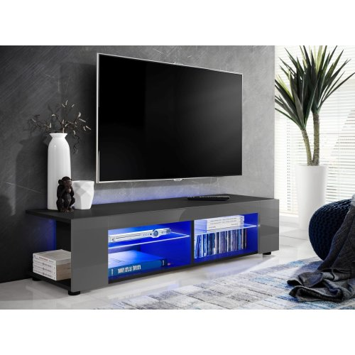 (Grey Gloss & Black, blue LEDs) ExtremeFurniture T37 TV Cabinet, Fronts in High Gloss, Optional LEDs