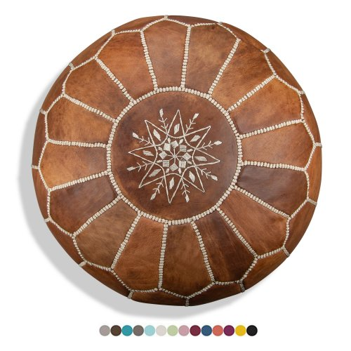 handmade leather pouffe - XL - delivered stuffed