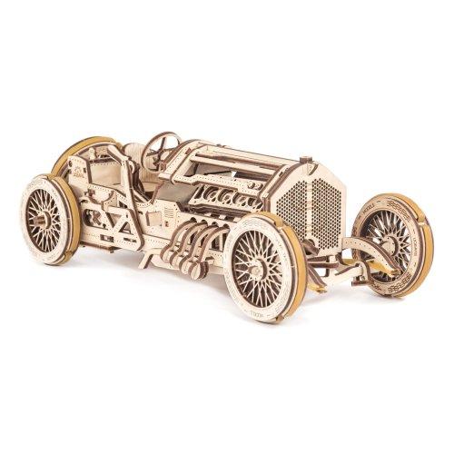 UGears U-9 Grand Prix Car Wooden Model (DIY Building Kit) Hand-Crank Powered Vehicle w/ Working Pistons, Wheels, Shocks | Functional, Authentic...