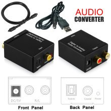 Optical Digital Coax Coaxial Toslink to Analog Audio RCA L/R Adapter