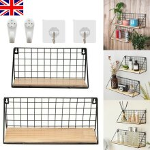 Vintage Industrial Wall Shelf Mounted Unit Metal Wire Wood Rack Storage Display Ship from UK