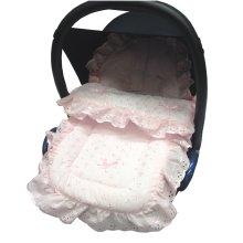 Broderie Anglaise Car Seat Footmuff / Cosy Toes Pink