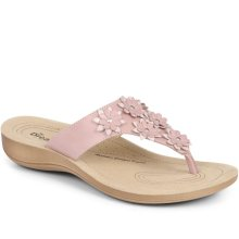 Fly Flot - Leather Toe Post with Flower Embellishment