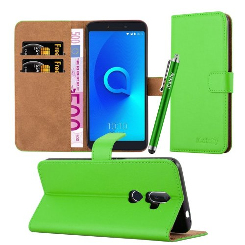 (Lime) For Alcatel 3V Premium Leather Wallet Case Cover