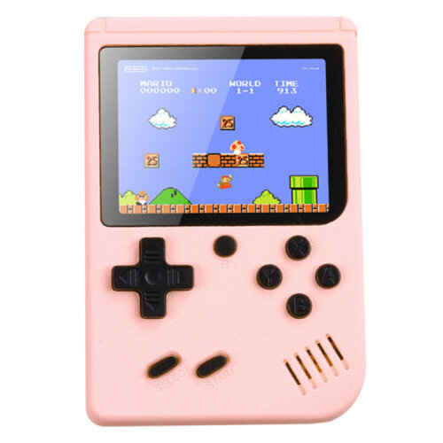 (Pink) Handheld Video Game Console with 500 Built-In Games
