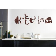 Assorted Kitchen Sign Wall Stickers Art Decals - Large (Height 38cm x Width 130cm) Brown