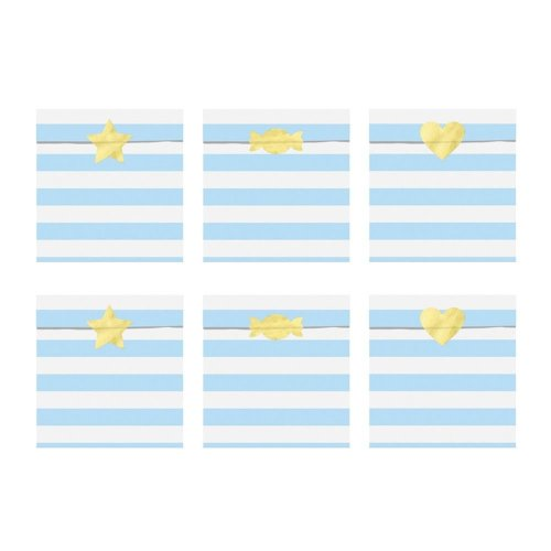 Treat Party Bags Light Blue and White Stripe x 6 Sweet Bar