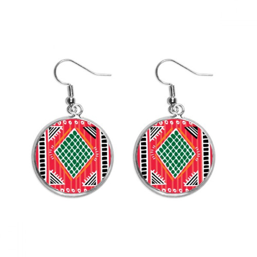 Red Green Line Mexico Totems Ancient Civilization Ear Dangle Silver Drop Earring Jewelry Woman