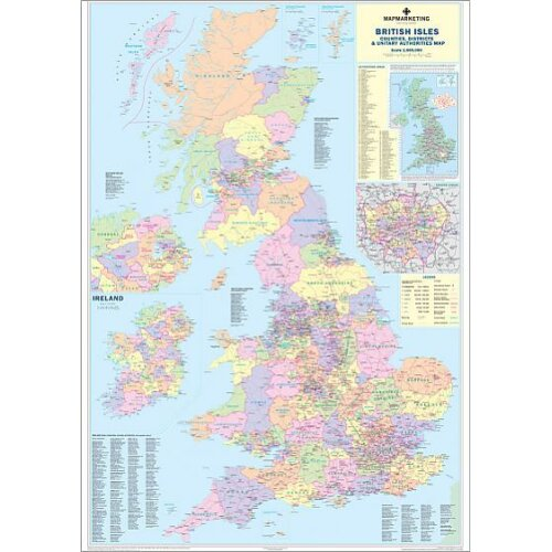 (A3 (42x30cm) Poster) British Isles Counties, Districts and Unitary Authorities Map (Poster Print)