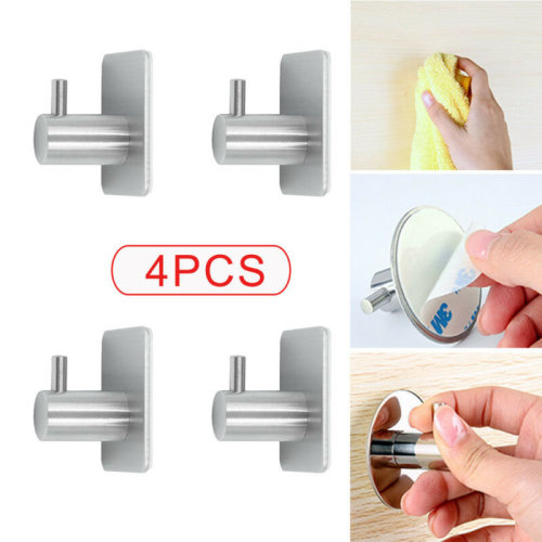 Self Adhesive Hooks Stainless Steel Strong Sticky Stick on Wall 4PCs