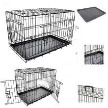 Dog Pet Training Transport crate Fold Flat cage Removable Tray Medium