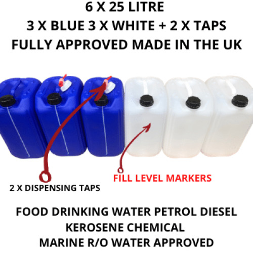 6x25 ltr new plastic bottle jerry can water carrier blue white+2 taps