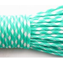 2m 6.56ft 2.18yrd White Turquoise Green Striped Paracord 330 Parachute Macrame Beading Cord Braided Rope For Survival Bracelet Kumihimo 4mm