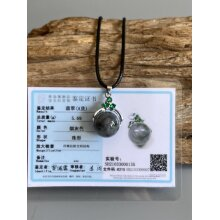 Grade A Ink Jadeite Jade whirling Lucky Ball Necklace
