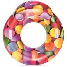 Inflatable Tropical Pool Ring Lounger with Headrest