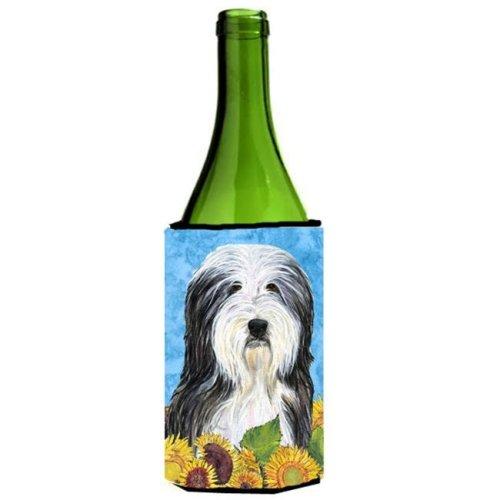 Bearded Collie In Summer Flowers Wine bottle sleeve Hugger - 24 oz.