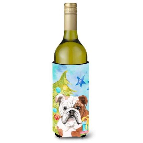 English Bulldog Christmas Wine Bottle Beverge Insulator Hugger
