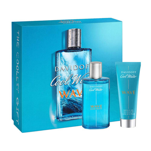 Davidoff Cool Water Wave 75ml EDT Spray & 75ml Shower Gel for Men Gift Set