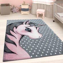 Kids Unicorn Rug Grey Pink White Baby Nursery Round Carpet Childrens Bedroom Mat