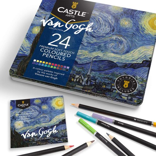 Castle Arts Van Gogh Themed 24 Piece Coloured Drawing Pencil Set in Tin Box | High-quality, smooth colours