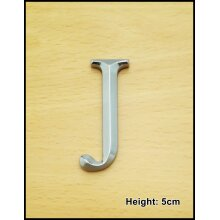 Self Adhesive Chrome Letters Silver Car Door Name 3D Times Roman Height 5CM - J