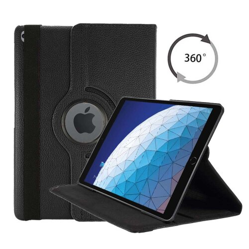 (Black) Case For Apple iPad 10.2in 2020 8th Generation PU Leather 360 Degree Rotating Cover