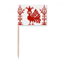 Red Mosaic Animal Trees Russia Toothpick Flags Marker Topper Party Decoration