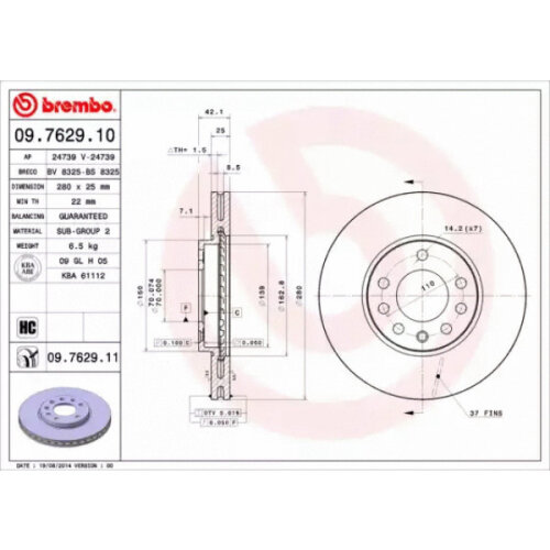 Front Pair (2x) of Brake Disc BREMBO 09.7629.11