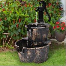 2 Tier Garden Wooden Effect Plastic Barrel Water Fountain Pump Cascading Feature