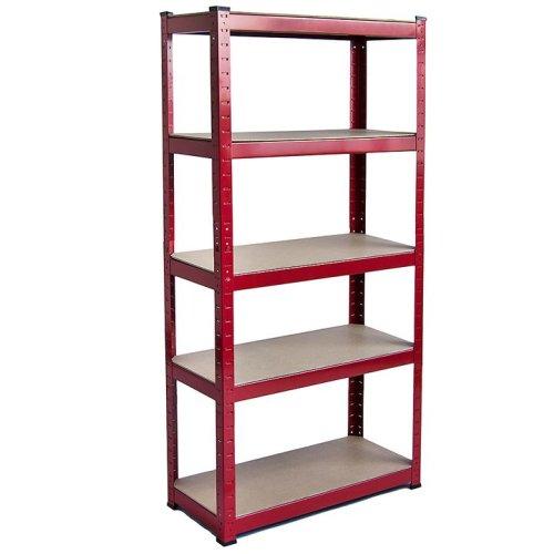 (Red) 5 Tier Garage Storage Rack