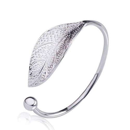 Silver Plated Large Filigree Leaf Open Adjustable Golf Bangle Bracelet
