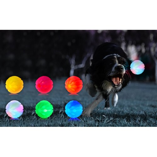 Ultra LED Dog Balls Flashing Glow in the Dark Light Up Dog Toys Virtually Indestructible Ball Perfect for Dog Games Catch Glow Balls for Dogs Flashing