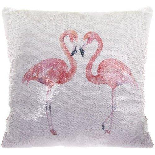 Flamingo Love Glitter Sequin Mermaid Cushion 40 Cm