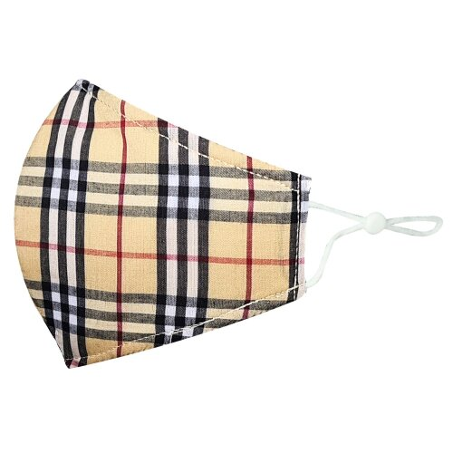 (Cream Tartan, 1) Adult Unisex Cotton Reusable Washable Protection Face Masks - (1 Pack) Cream Tartan