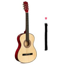 """3/4 Size Beginner Acoustic Guitar Kids 6 String Adjustable Strap Plectrum 38"""""""