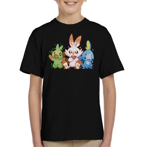 Pokemon Starters Scorbunny Sobble Grookey Kid's T-Shirt