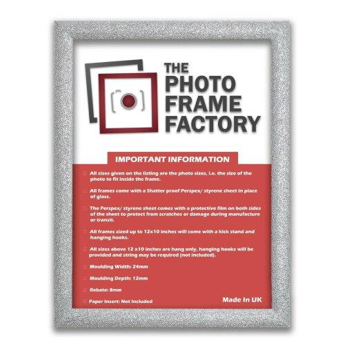 (Silver, 12x4 Inch) Glitter Sparkle Picture Photo Frames, Black Picture Frames, White Photo Frames All UK Sizes