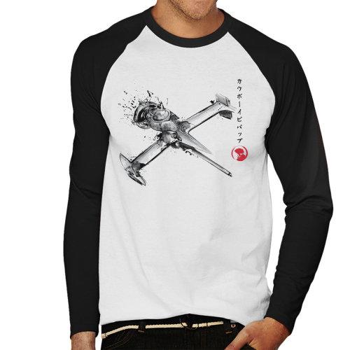 Cowboy Bebop Mono Racer Sumi E Men's Baseball Long Sleeved T-Shirt